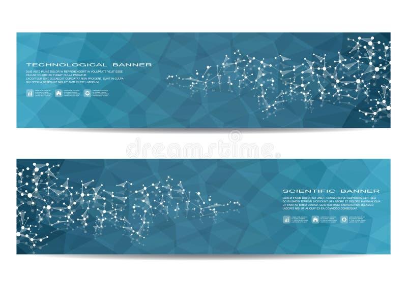 Wetenschappelijke banner twee Moleculaire structuur van DNA en neuronen Geometrische abstracte achtergrond Geneeskunde, wetenscha stock illustratie