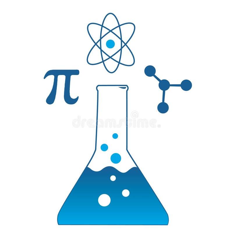 Wetenschappelijke Beker & Symbolen stock illustratie
