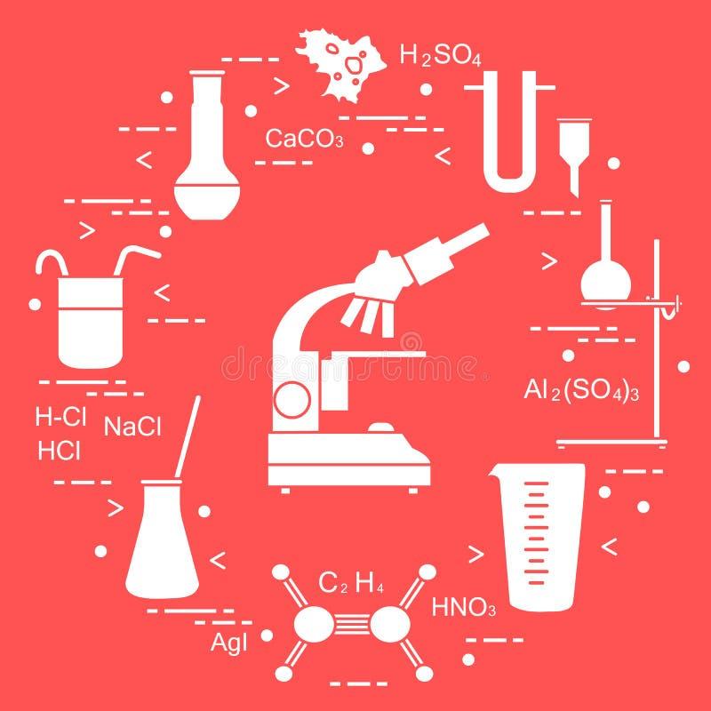 Wetenschappelijke chemie, onderwijselementen: microscoop, flessen die, driepoot, formules, beker, amoebe, kop, U-vormige trechter stock illustratie