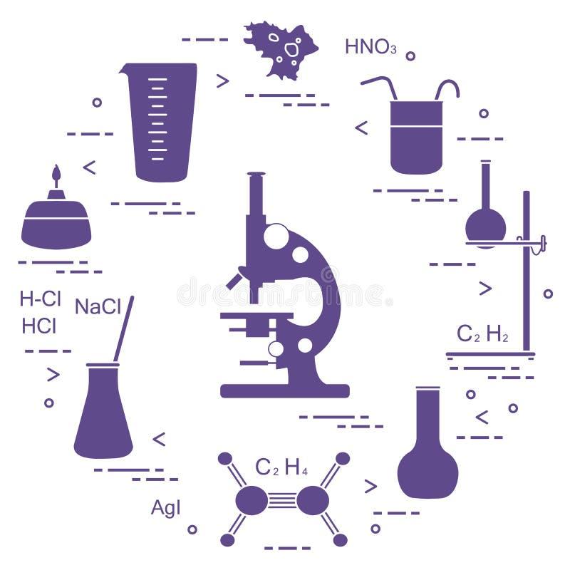 Wetenschappelijke chemie, onderwijselementen: microscoop, flessen die, driepoot, formules, beker, brander, amoebe, kop meten Ontw vector illustratie