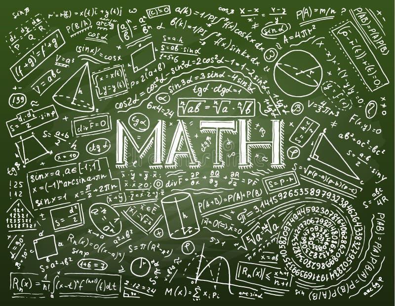Wetenschappelijke formules en berekeningen in fysica en wiskunde op whiteboard De les van algebra en meetkunde binnen stock illustratie
