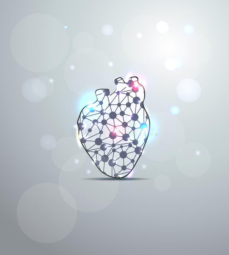 Wetenschappelijke hartvorm royalty-vrije illustratie