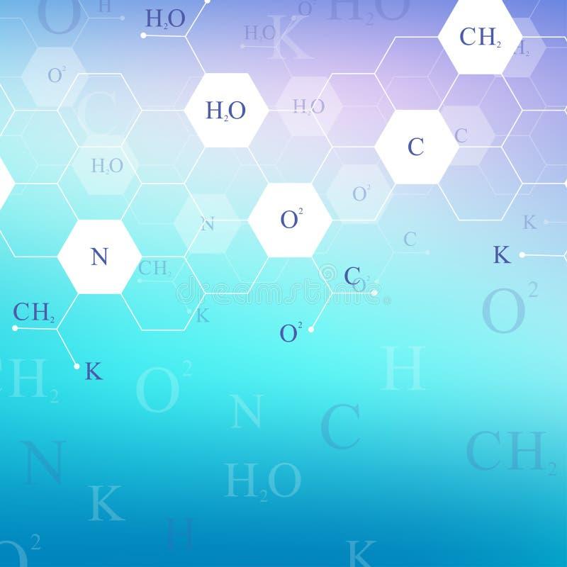 Wetenschappelijke hexagonale beelden van moleculaire structuren Het onderzoek van DNA van de structuurmolecule als concept Chemie stock illustratie