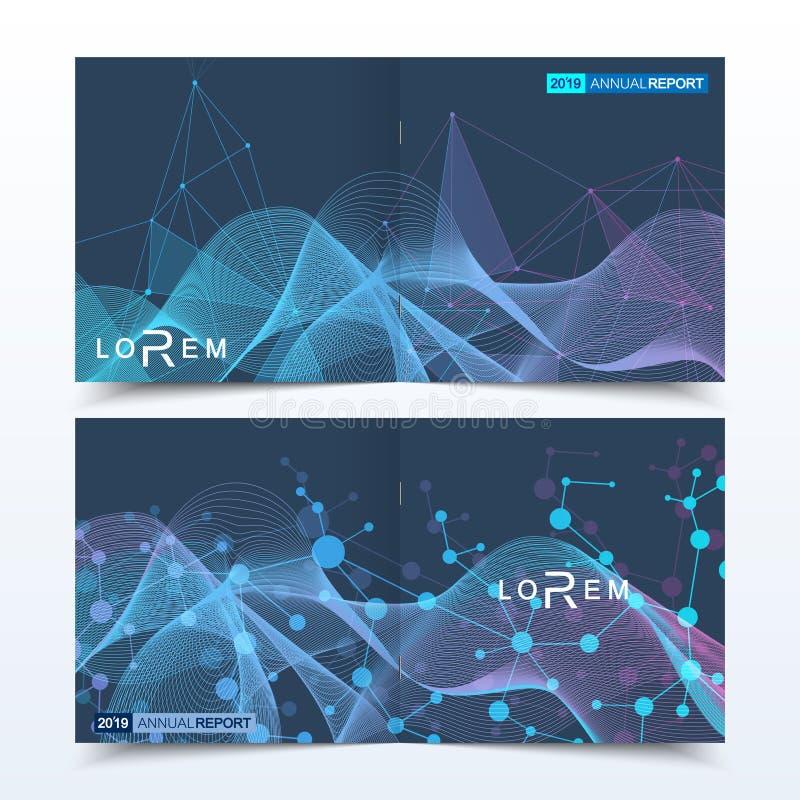 Wetenschappelijke malplaatjes vierkante brochure, tijdschrift, pamflet, vlieger, dekking, boekje, jaarverslag Wetenschappelijk co vector illustratie