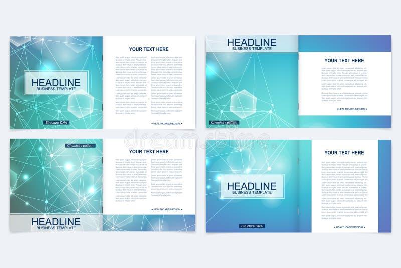 Wetenschappelijke malplaatjes vierkante brochure, tijdschrift, pamflet, vlieger, dekking, boekje, jaarverslag Wetenschappelijk co royalty-vrije illustratie