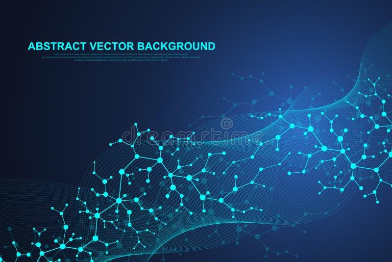 Wetenschappelijke moleculeachtergrond voor geneeskunde, wetenschap, technologie, chemie Golvenstroom Behang of banner met een DNA stock illustratie