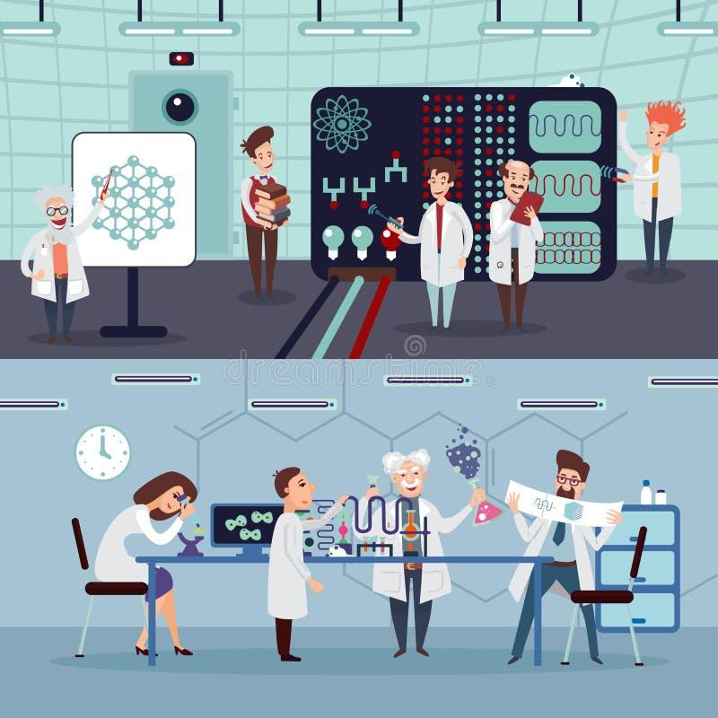Wetenschappelijke Onderzoek Horizontale Banners vector illustratie