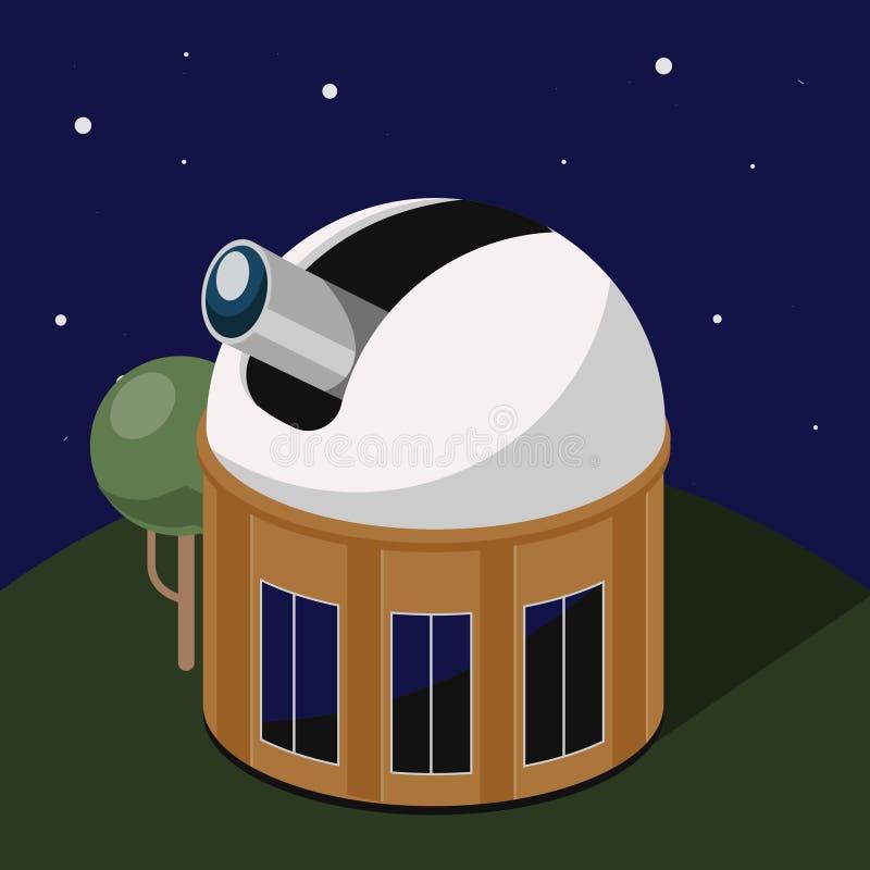 Wetenschappelijke ruimtewaarnemingscentrum isometrische vector stock illustratie