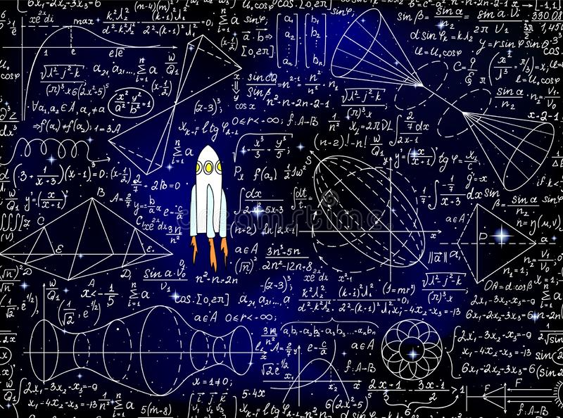 Wetenschappelijke vector naadloze achtergrond met met de hand geschreven wiskundige en fysieke formules, raketten en cijfers vector illustratie