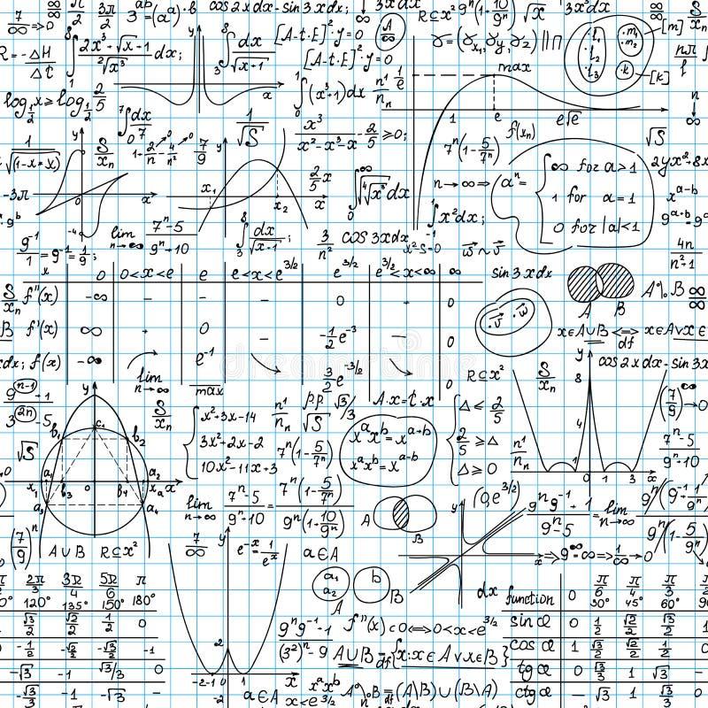 Wetenschappelijke vector naadloze achtergrond met wiskunde en fysica met de hand geschreven formules, percelen, lijsten, cijfers  stock illustratie