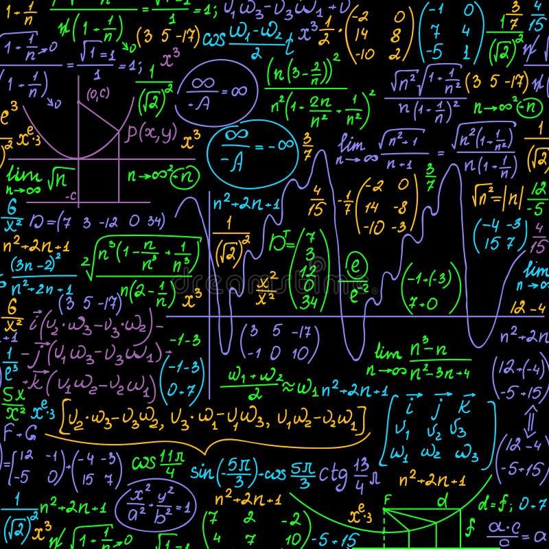 Wetenschappelijke vector naadloze achtergrond met wiskundige met de hand geschreven multicolored formules, vergelijkingen en bere stock illustratie
