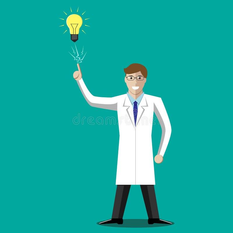 Wetenschapper in ahaogenblik stock illustratie