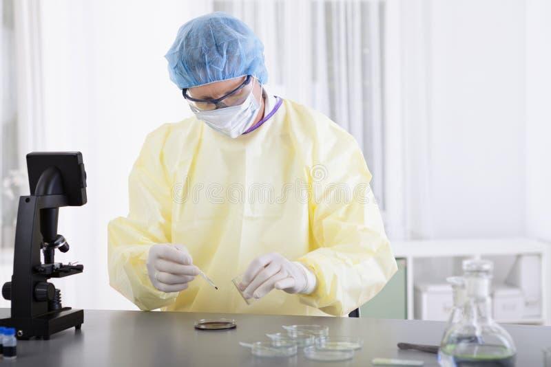 Wetenschapper in beschermend toestel met bloedmonster royalty-vrije stock fotografie