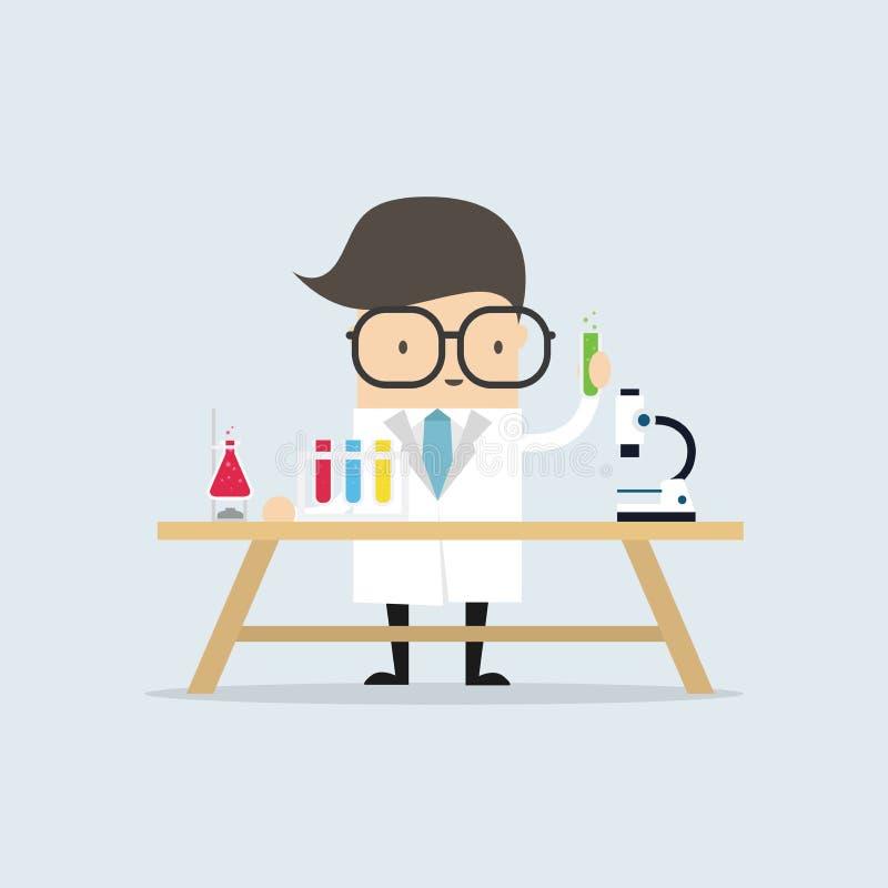 Wetenschapper bij de lijst die een experiment leiden vector illustratie