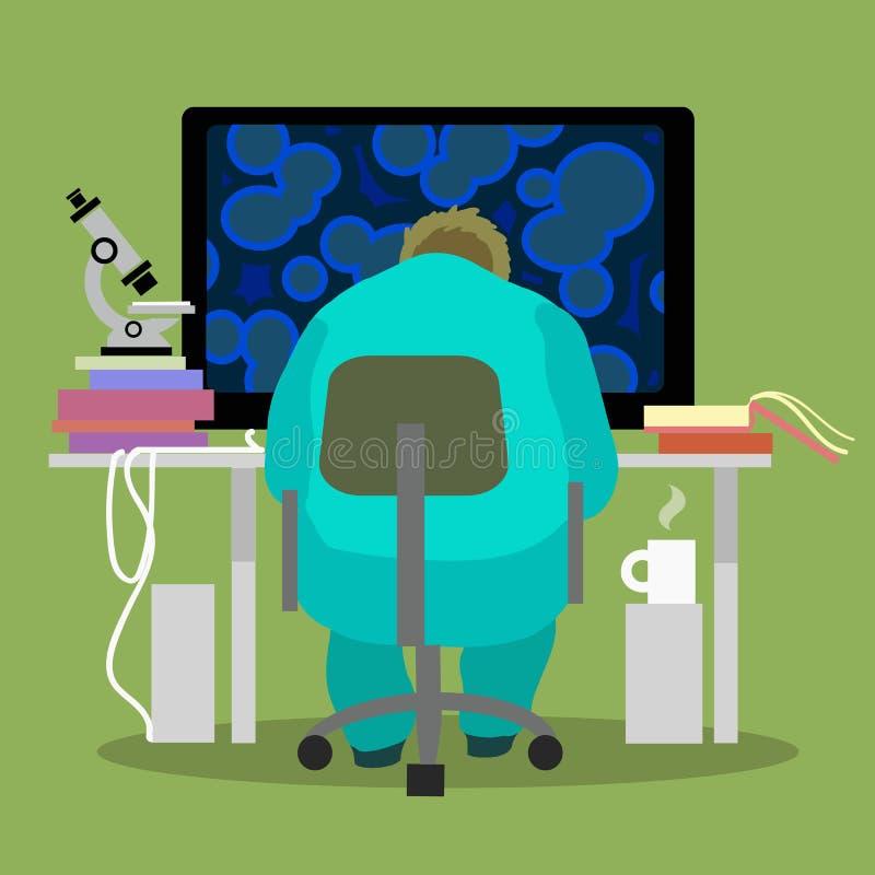 Wetenschapper die aan de computer werken stock illustratie