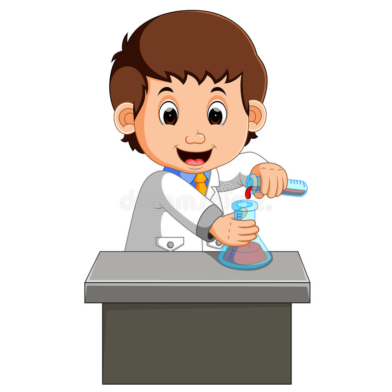 Wetenschapper die in het laboratorium werkt stock illustratie