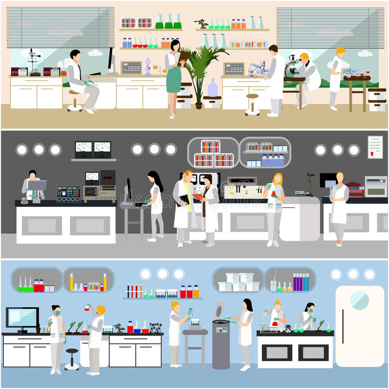 Wetenschapper die in laboratorium vectorillustratie werken Het binnenland van het wetenschapslaboratorium Biologie, Fysica en Che vector illustratie