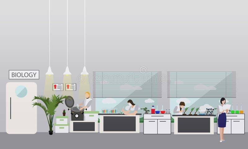 Wetenschapper die in laboratorium vectorillustratie werken Het binnenland van het wetenschapslaboratorium Het concept van het bio stock illustratie