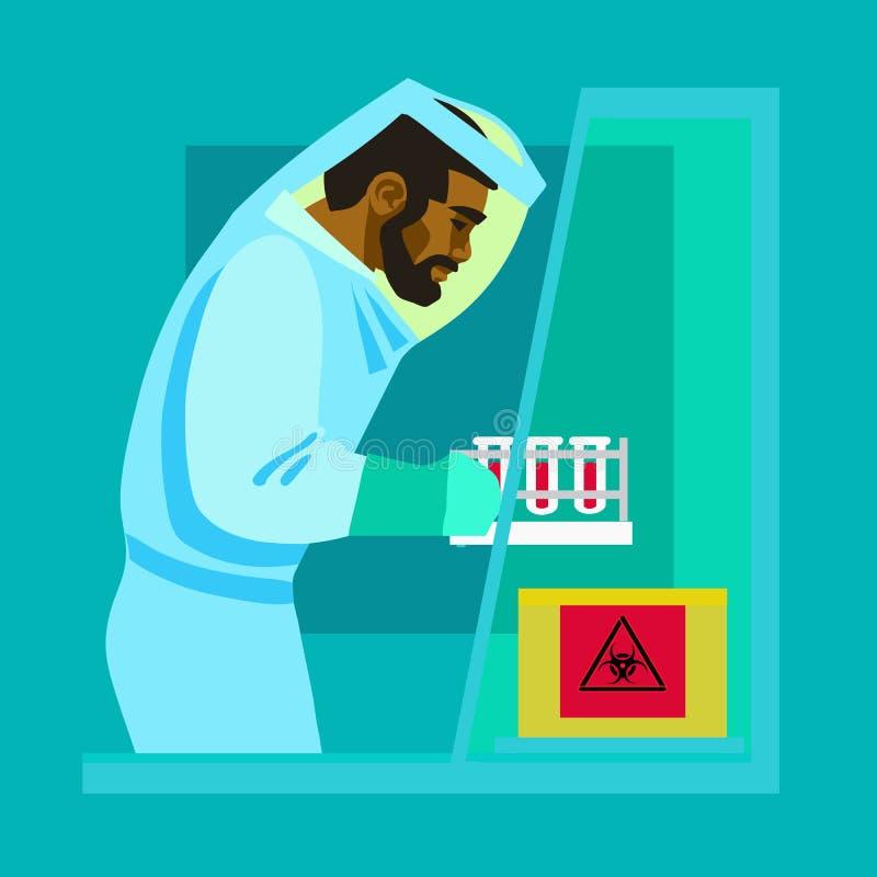 Wetenschapper die met biogevaarlijke stoffen werken royalty-vrije illustratie