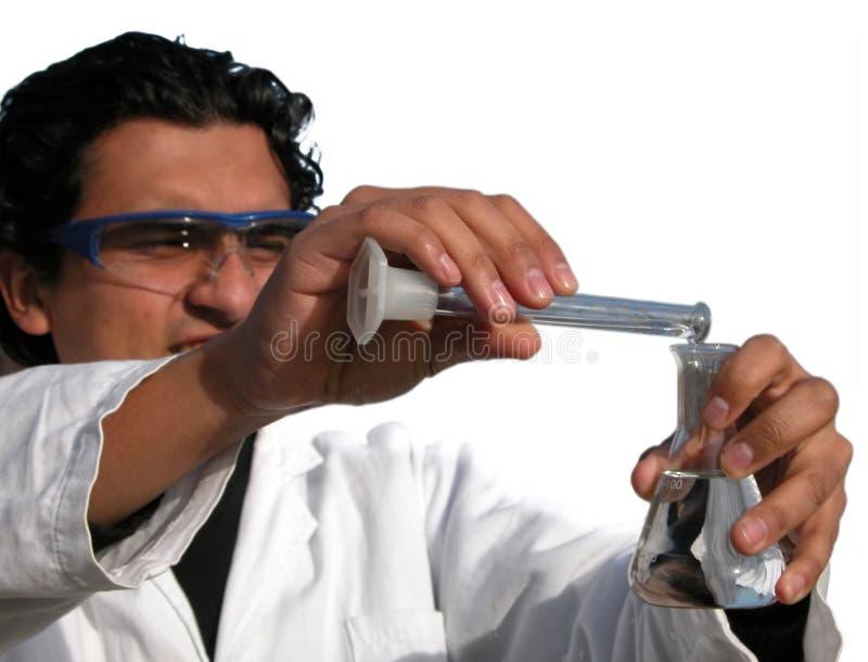 Wetenschapper - die op wit wordt geïsoleerdg
