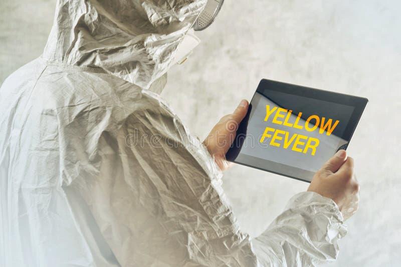 Wetenschapper die wordt geïnformeerd te worden tablet gebruiken die over gele koortsdiseas stock fotografie