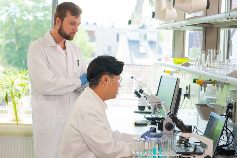 Wetenschapper en studenten die in laboratorium werken De internen van het artsenonderwijs om het analyseren van onderzoek te make stock afbeelding