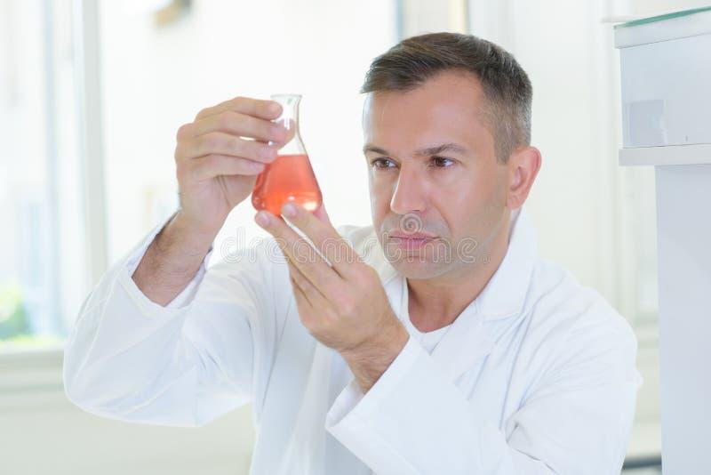 Wetenschapper het inspecteren duidelijkheidschemisch product stock fotografie