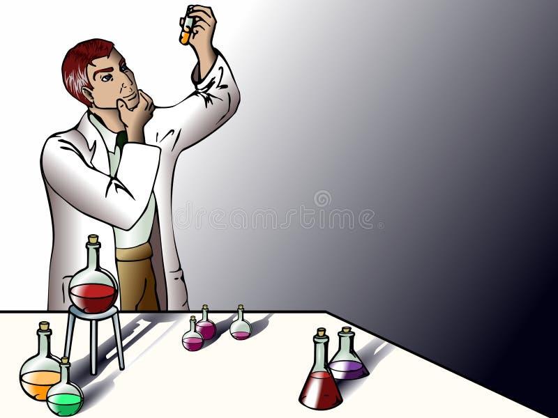 Wetenschapper in het laboratorium royalty-vrije illustratie