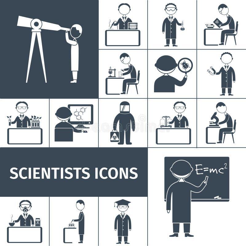 Wetenschapper Icons Black royalty-vrije illustratie