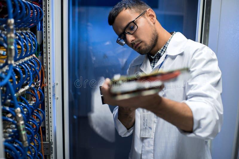 Wetenschapper Inspecting Blade Server stock foto