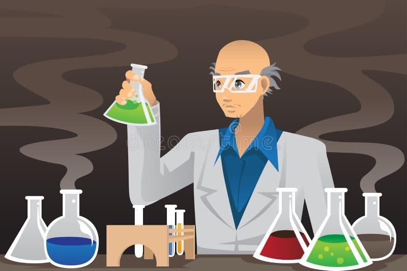 Wetenschapper in laboratorium royalty-vrije illustratie