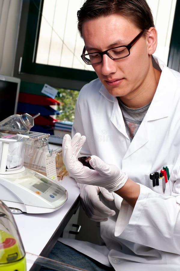 Wetenschapper met de muis stock foto