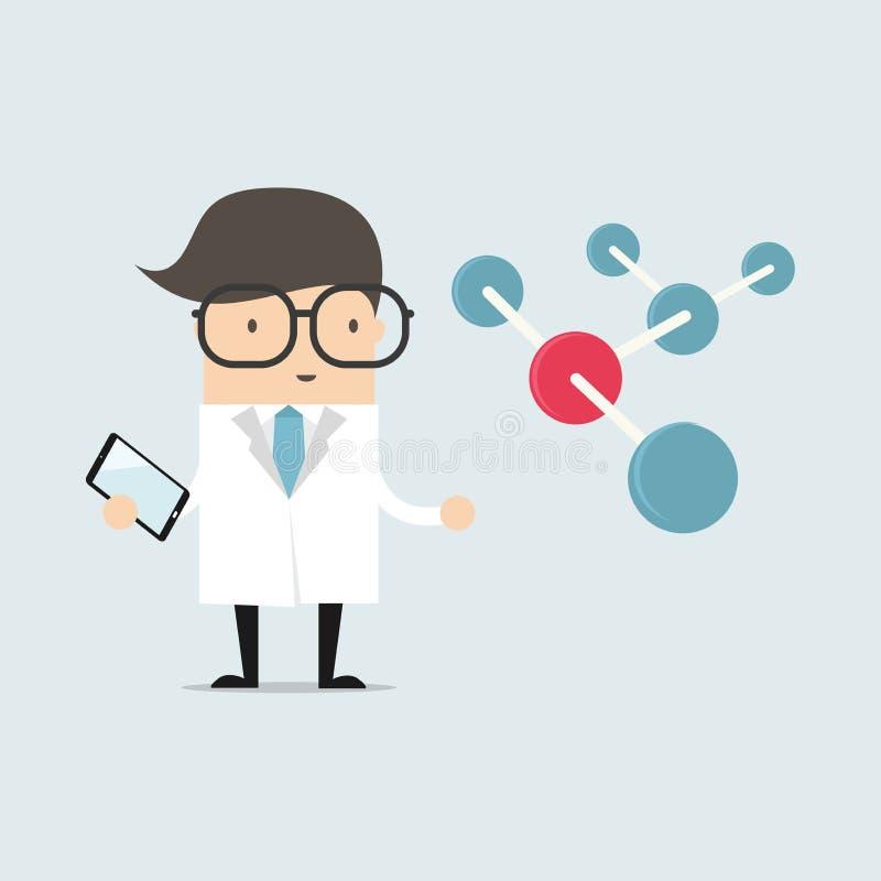 Wetenschapper met grote molecule en tablet vector illustratie