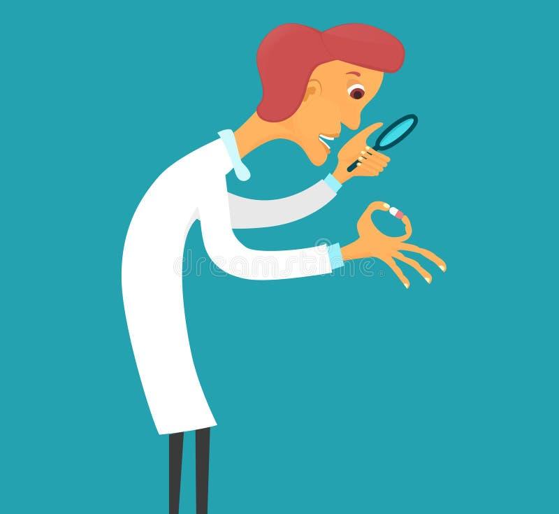 Wetenschapper met het meer magnifier letten op op pil stock illustratie
