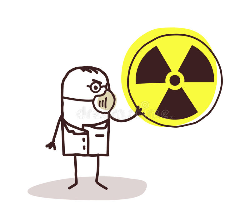 Wetenschapper met masker en radioactiviteit stock illustratie