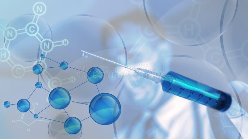 Wetenschapper met spuit op hand vector illustratie