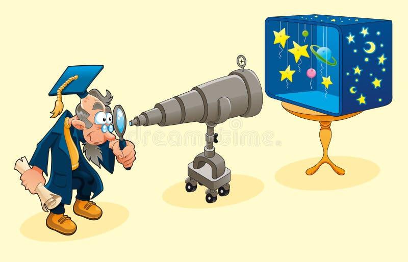 Wetenschapper met telescoop. stock illustratie