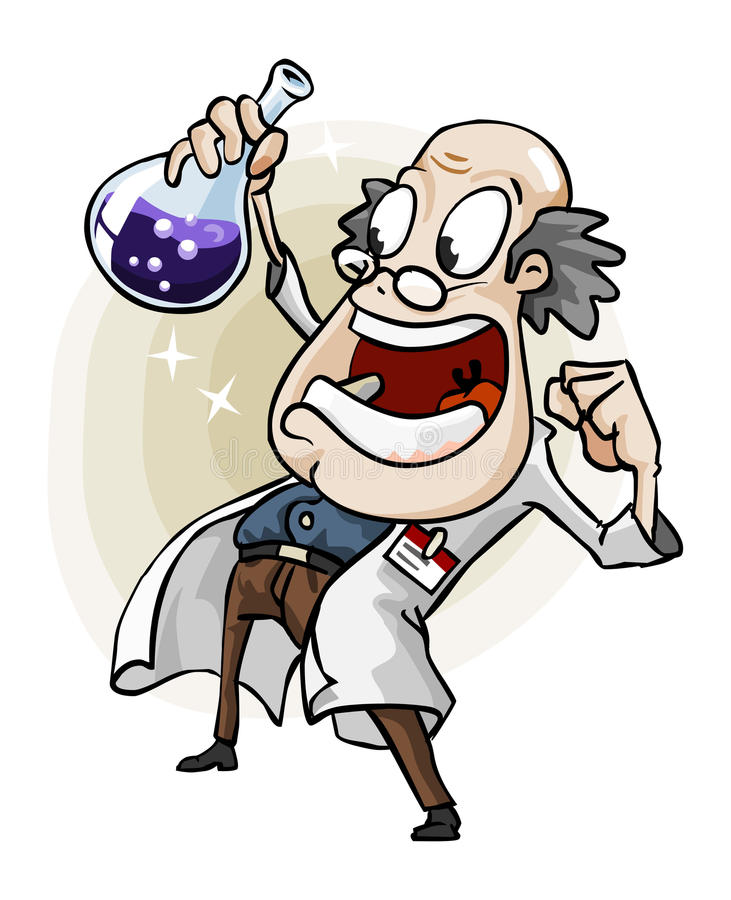 Wetenschapper met Uitvinding. vector illustratie