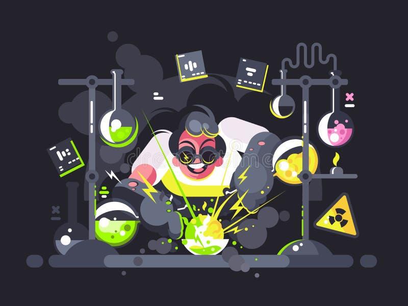 Wetenschapperchemicus die chemisch experiment maken stock illustratie