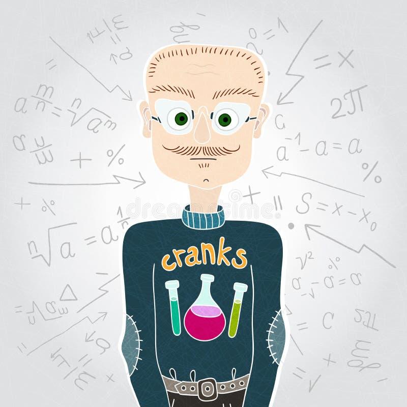Wetenschappermens in sweater en glazen leraar Wiskundige formules stock illustratie