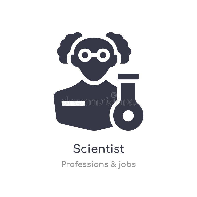 Wetenschapperpictogram de geïsoleerde vectorillustratie van het wetenschapperpictogram van beroepen & baneninzameling editable zi stock illustratie