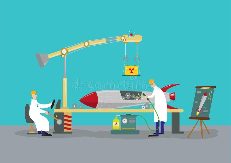 Wetenschappers die aan een kernkop van de raketraket werken Omgekeerd techniekconcept vector illustratie