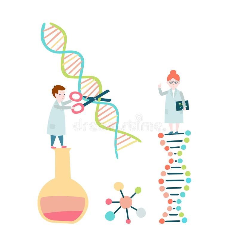 wetenschappers DNA-structuur, genoom het rangschikken stock illustratie