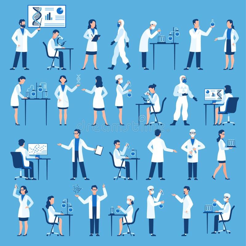 Wetenschapperskarakters De artsen groeperen zich in het laboratorium van het wetenschapsziekenhuis, biologisch onderzoek met test stock illustratie