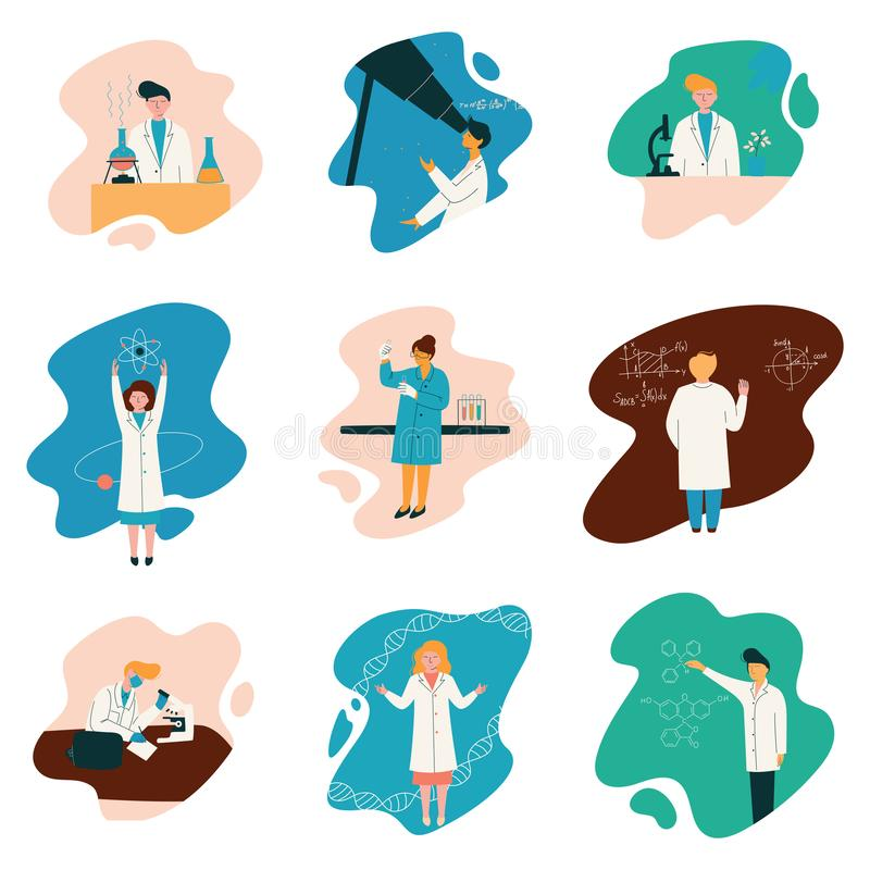 Wetenschapperskarakters die Witte Lagen dragen die bij het Onderzoeken van Laboratorium, Bioloog Set, Fysicus, Astronoom, Gen wer stock illustratie