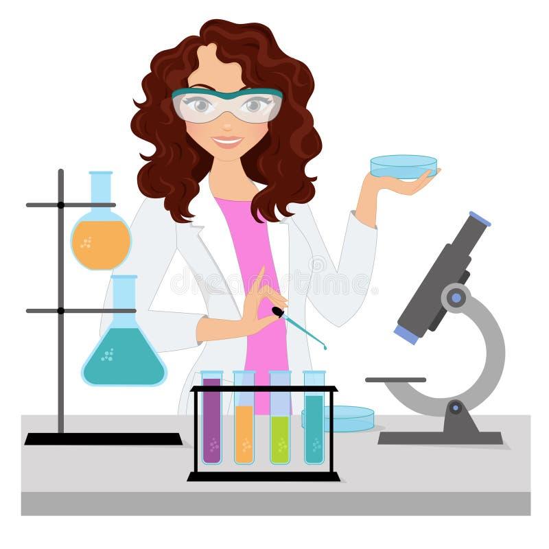 Wetenschappervrouw vector illustratie