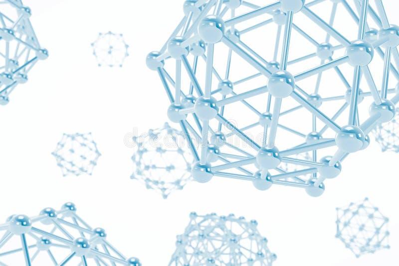 Wetenschaps Abstracte Molecules het 3d teruggeven vector illustratie