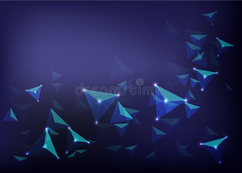 Wetenschaps futuristische samenvatting backgroun met het gloeien tetrahedra op donkerblauw netwerk backround vector illustratie
