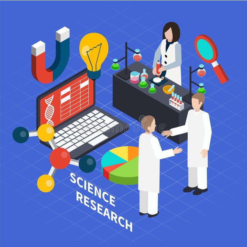 Wetenschaps Isometrisch Concept stock illustratie