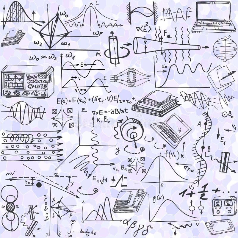Wetenschaps naadloos patroon met schetselementen met betrekking tot fysica stock illustratie